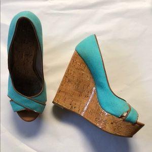 Jessica Simpson teal cork platforms size 7